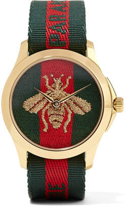 Gucci Canvas And Gold-tone Watch - Green