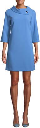 Tahari ASL Crepe Shift Dress with Asymmetric Fold-Over Collar