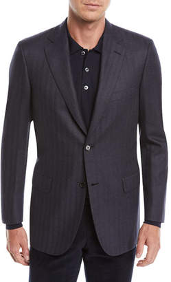 Brioni Men's Striped Herringbone Two-Button Jacket