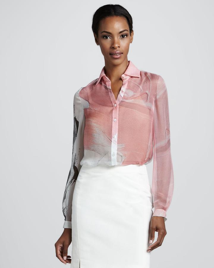 Chado Ralph Rucci Printed Chiffon Blouse, Pink