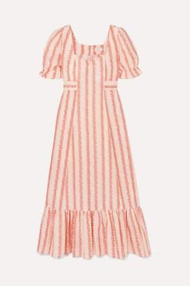 Rixo Kate Floral-print Cotton Midi Dress - Peach