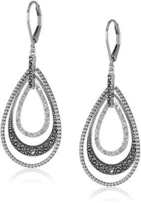 "Judith Jack Classics"" Sterling , Marcasite, Crystal Teardrop Lever Back Earrings"