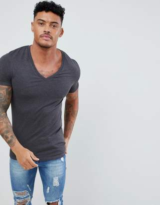 Asos Design DESIGN muscle fit t-shirt with deep v neck in grey