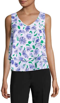 Liz Claiborne Sleeveless V-Neck Woven Layered Blouse
