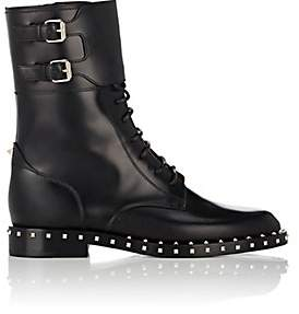 Valentino Women's Rockstud Leather Combat Boots - Black