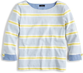 J.Crew Chambray Lined Stripe Long Sleeve Tee