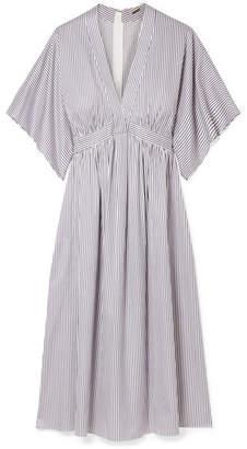 ADAM by Adam Lippes Striped Cotton-jacquard Dress - Light blue