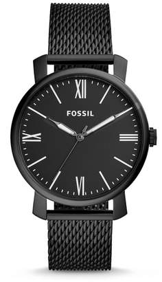Fossil Rhett Three-Hand Black Stainless Steel Watch