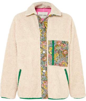 Sandy Liang - Bayside Floral Jacquard-paneled Fleece Jacket - Cream
