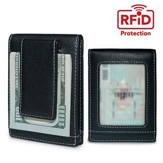 KEKS Slim Leather RFID Credit Card Holder and Money Clip - Slim Business Card Wallet