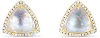 Ri Noor Trillion Moonstone & Diamond Stud Earrings