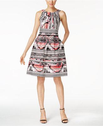 Nine West Printed Pocket Fit & Flare Dress $79 thestylecure.com