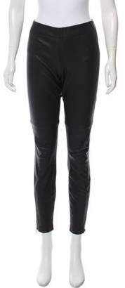 Current/Elliott Leather Zip-Accented Pants