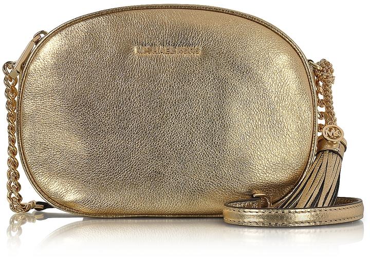 MICHAEL Michael KorsMichael Kors Ginny Pale Gold Pebble Leather Medium Messenger Bag