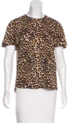 Rebecca Minkoff Leopard Printed Short Sleeve Top