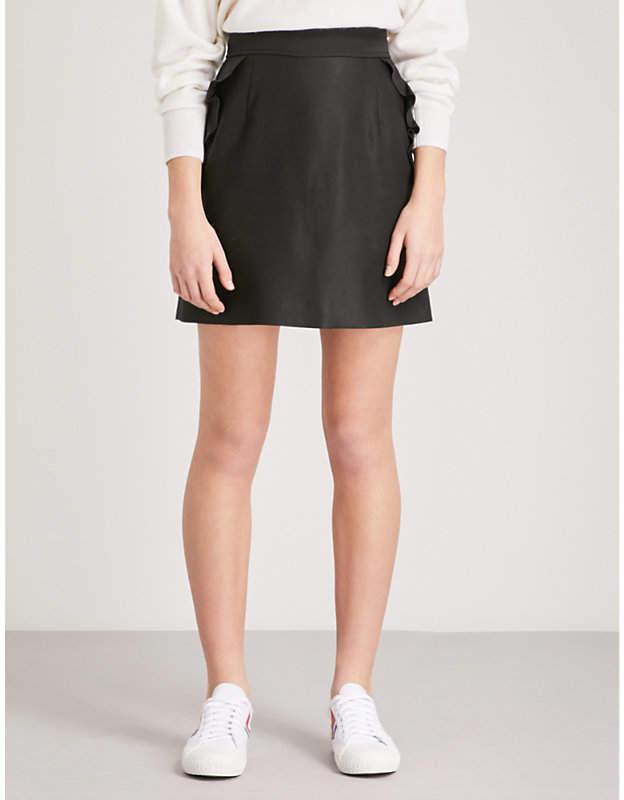 Frilled-trim cotton-blend mini skirt
