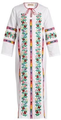 Muzungu Sisters - Jasmine Vine Embroidered Cotton Dress - Womens - White Multi