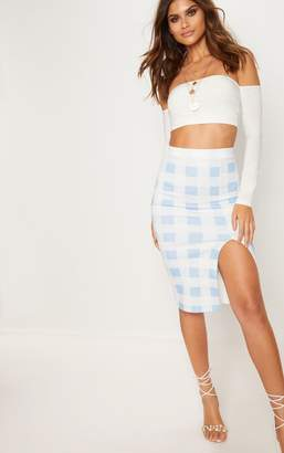 PrettyLittleThing Dusty Blue Scuba Check Side Split Midi Skirt