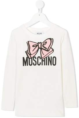 Moschino Kids bow logo print top