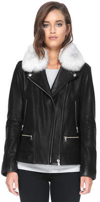 Soia & Kyo BYRONY-FX moto leather jacket with removable fur trim