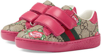Gucci GG Supreme & Rose Bud Print Sneaker, Toddler $295 thestylecure.com