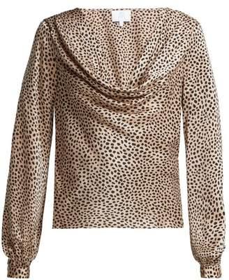BEIGE Rebecca De Ravenel - Leopard Print Silk Satin Blouse - Womens Print