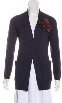 Brunello Cucinelli Leather-Accented Cashmere Cardigan Aubergine Leather-Accented Cashmere Cardigan