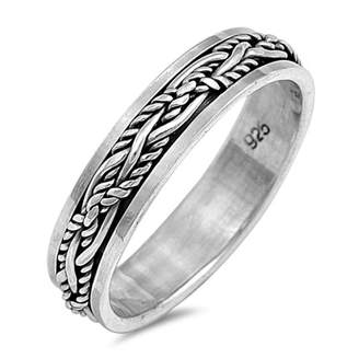 Glitzs 925 Sterling Silver Spinner Ring (Size 13)