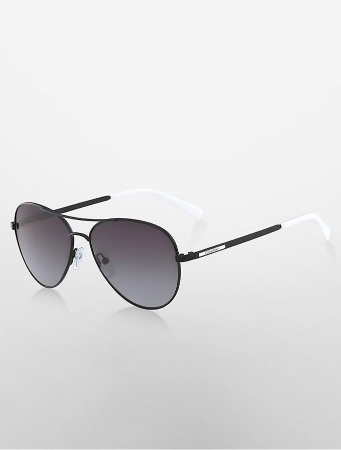 Calvin KleinAviator Double-Bar Sunglasses