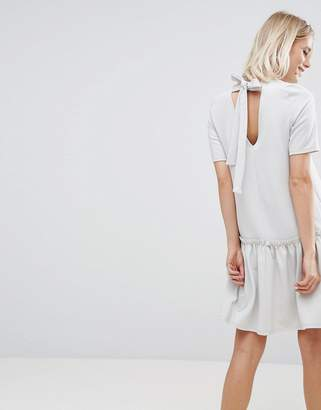 Asos Design Swing Dress with Ruffle Dropped Hem and Tie Back