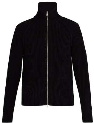 Maison Margiela Zipped Ribbed Sweater - Mens - Black