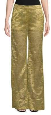 Akris Christa Geometric Silk Wide-Leg Trousers