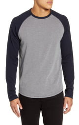 Vince Long Sleeve Thermal Knit Baseball T-Shirt