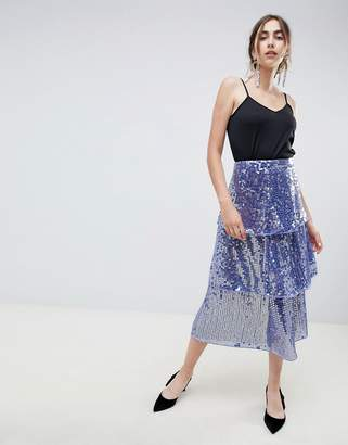 6a54b224fc7 Asos Design DESIGN tiered sequin midi skirt
