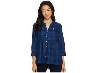 U.S. Polo Assn. Button Front Peplum Shirt Women's Clothing