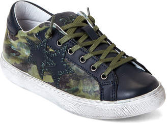 2star (Toddler/Kids) Green Camo Leather Slip-On Sneakers