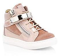 Giuseppe Zanotti Baby's & Little Girl's Croc-Embossed Velvet & Patent Leather High-Top Sneakers