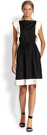 See by Chloe Flutter-Sleeved Two-Tone Dress