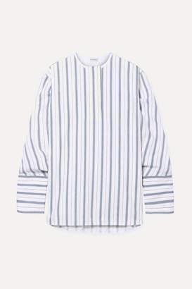 By Malene Birger Striped Cotton-poplin Shirt - Blue