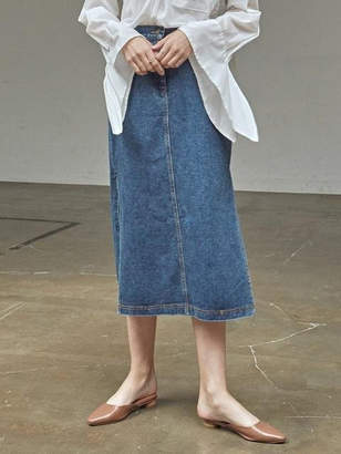 Side Slit Long Denim Skt Denim