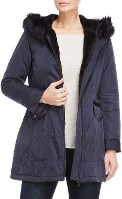 French Connection Faux Fur-Trimmed Softshell Coat