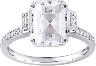 Sterling Silver 4.00 cttw Emerald-Cut Topaz & Diamond Ring