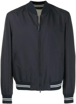 Brioni contrast trim bomber jacket