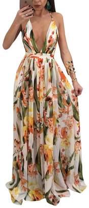TrinhGuo Womens Sexy Plunge V Neck Floral Print Spaghetti Strap Full Long Maxi Dress L