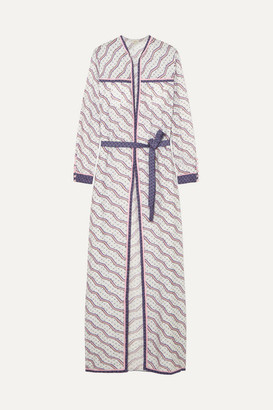 Talitha - Printed Silk And Cotton-blend Robe - Lilac