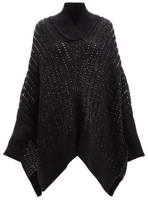 Saint Laurent Oversized Wool Blend Sweater - Womens - Black Grey