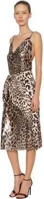 Paco Rabanne Draped Leopard Mesh & Satin Midi Dress