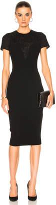 Victoria Beckham Matte Crepe & Lace Insert Short Sleeve Fitted Dress