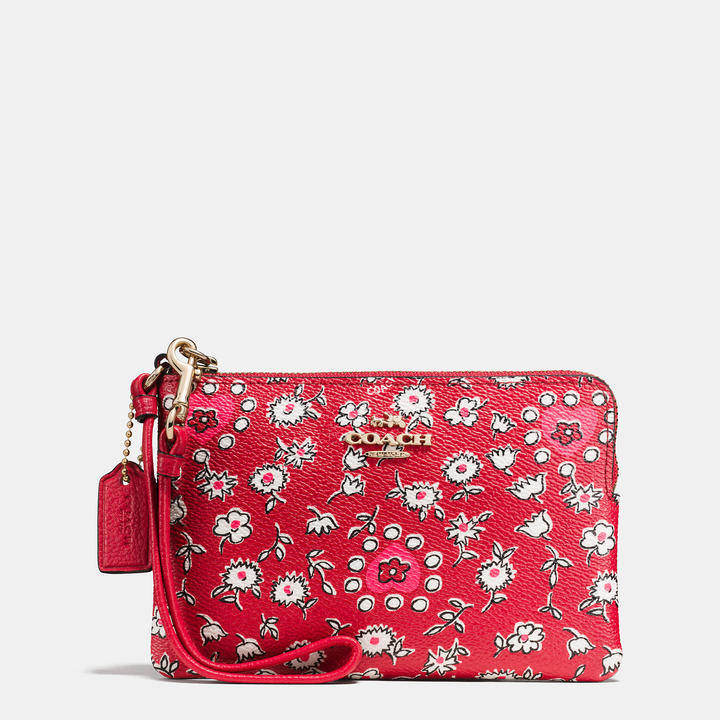Coach   COACH Coach Small Wristlet In Wild Hearts Print Coated Canvas