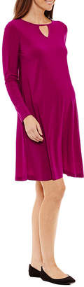 Tiana B Long Sleeve Trapeze Dress - Maternity
